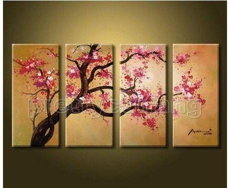 Impresional enorme de arte moderno de flor de cerezo de pintura al ...