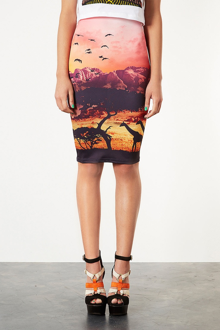 479k African Safari Tube Skirt - Skirts - Clothing - Topshop Indonesia