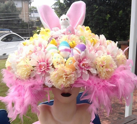 Edeline's Easter hat. I made this for my niece, for her school parade.