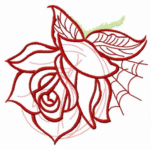 Rose and web machine embroidery design. Machine embroidery design. www.embroideres.com #green #pink #red #plant #rose #nature #web #blossom #embroiderydesign #embroideres