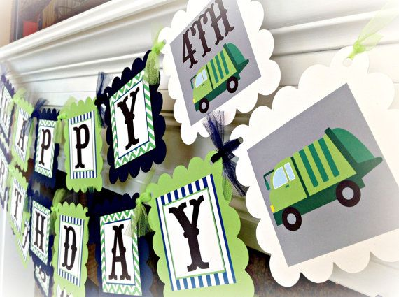 PARTY PACK SPECIAL Garbage Truck Birthday by EmeraldCityPaperie