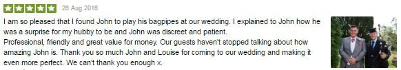 A recent testimonial from Charlotte & Michael following my surprise participation in their Wedding at Court Colman Manor Thank you so much :-)  #SouthWales #Weddingmusic #Bagpipes #Bridgend