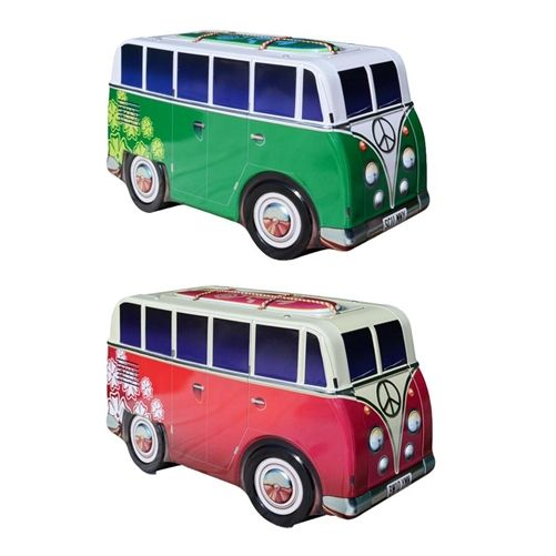 """Make More Cents is proud to offer a nostalgic take on the VW Surfer Vans of the 1960's  The VW inspired Surfer Van Storage Bank is 9.0"""" in length and is 5.0 """" in height.  The panel on top with the surfboards lifts off so you can easily store your loose change and bills in the van.  The Van Storage Banks are highly detailed with 60's flower power motif, lights, wheel discs and embossed body panels.  In addition to being a great place to keep money, our Surfer Vans are perfect for storing…"""