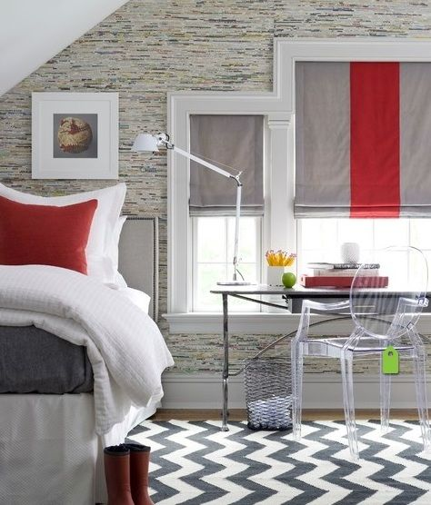 monochrome bedroom with stripes