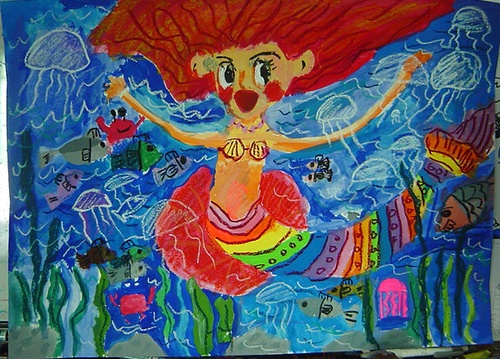 The Little Mermaid - 8 years old.  Girl.  Crayons,watercolors,paper.