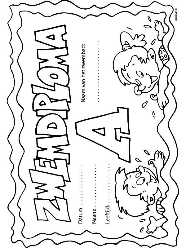 Kleurplaat Zwemdiploma Zwemdiploma A Kleurplatenl Com