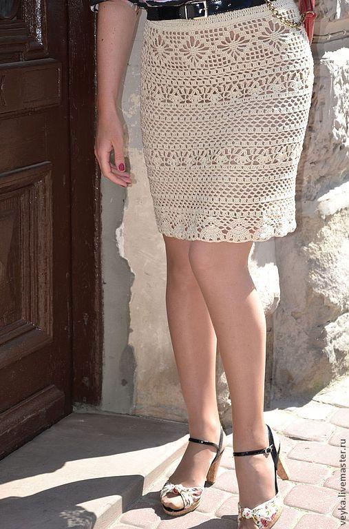"""Купить Шёлковая юбка """"Скифское золото"""" - бежевый, юбка крючком, Вязание крючком, вязаная юбка"""