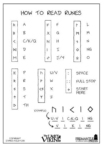 "Free printable how-to-read-runes guide, and two rune message decoding worksheets.  Also lots of coloring pagesto accompany ""The Last Viking"" by  Norman Jorgensen."