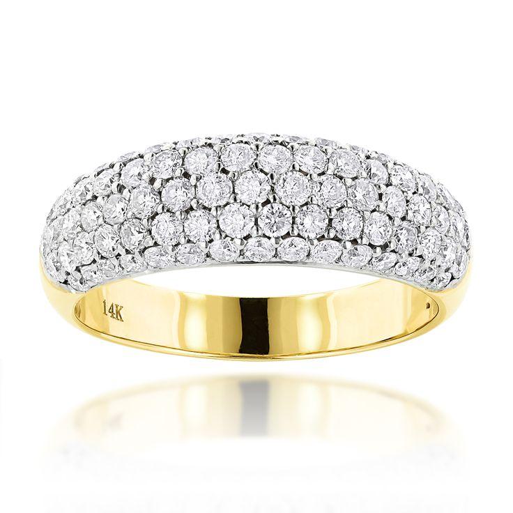 Pave Diamond Rings: 14K Gold Ladies Round Diamond Wedding Band 1.52ct