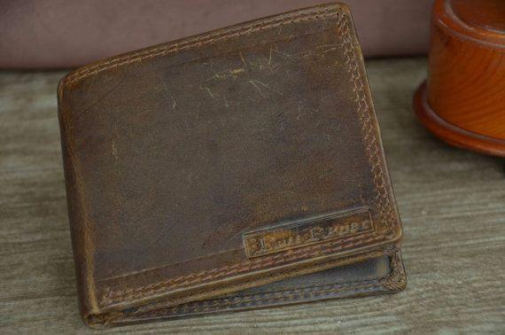 Men's Wallet Brown Genuine Leather Wallet Distressed Vintage Retro Style Wallet Bi-Fold Wallet by SherryJewelry on Etsy, $25.00