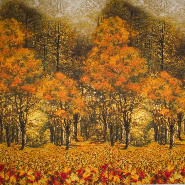 Fabric with an autumn scene. Order by www.textielstad.nl