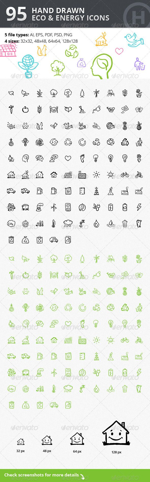95 Hand-drawn Eco & Energy Icons Design Template - Web Icons Design Template PSD, Vector EPS, AI Illustrator. Download here: https://graphicriver.net/item/95-handdrawn-eco-energy-icons/3119527?ref=yinkira