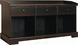 "Kloter Farms - Sheds, Gazebos, Garages, Swingsets, Dining, Living, Bedroom Furniture CT, MA, RI: Nutmeg Pine 50"" Cubby Bench with Drawers: Legacy Black Finish"
