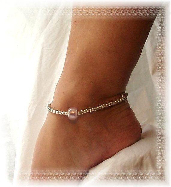 Pandora Pink Anklet Silver Foiled Ankle Bracelet