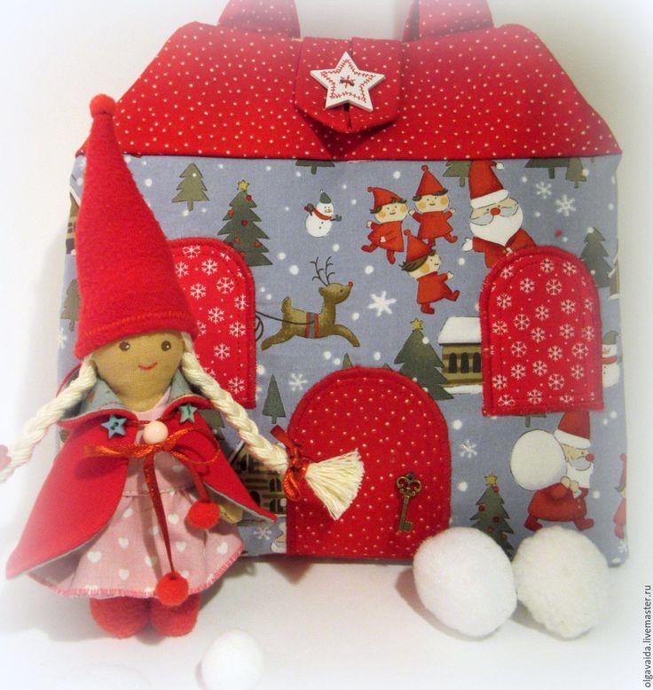 Купить Домик-сумочка для гномочки новогодний - ярко-красный, домик-сумочка, сумочка-домик