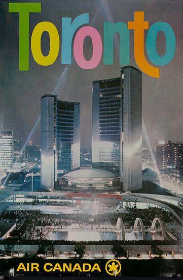 1960s Original Air Canada Toronto Travel Poster // Affiche promo Toronto datant de 1960