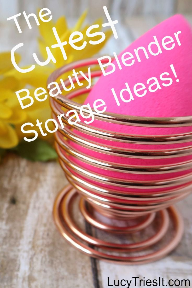 Take a look at your vanity right now.  You have pretty holders to store your beloved makeup brushes.  You have a special drawer for all your precious makeup.  But where does your beauty blender go?  Hmm?  These beauty blender storage ideas don't just look cute - they're also functional!  Plus, they're great for other makeup sponges too! via @lucytriesit