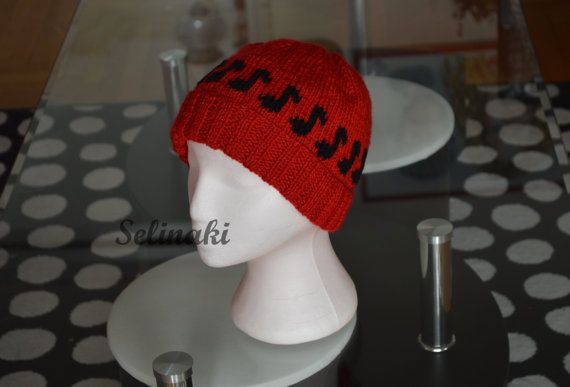 Knit Music Notes Red Hat Beanie