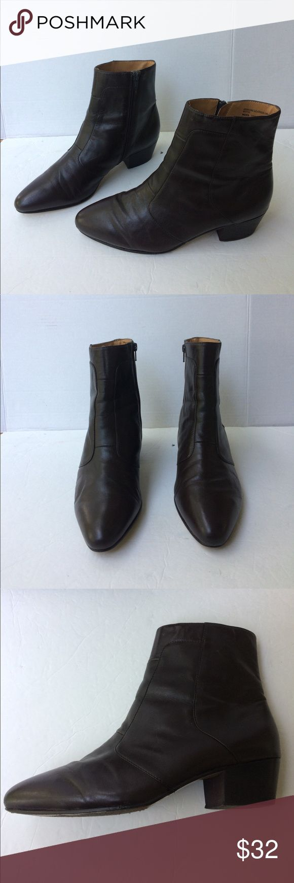 "Giorgio Brutini Men's Calloway Brown Ankle Boots This is a nice preowned pair of Giorgio Brutini dark brown leather ankle boots. They are side zipped with a 2"" Cuban heel and leather lining and leather soles. They have a few very minor scuffs and scuffs of the leather finish on the soles. Otherwise extremely good condition and great looking. 10M Giorgio Brutini Shoes Boots"