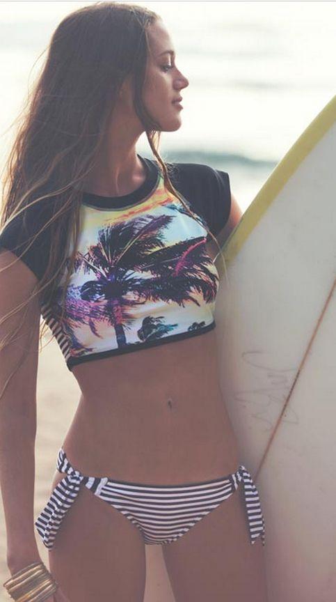 Roxy Pop Surf // Sunset Stripes Remix Rashguard and Scooter Bikini Bottom