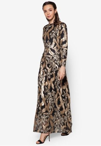 Embroidered Sequin Dress from Zalia in black and gold_1