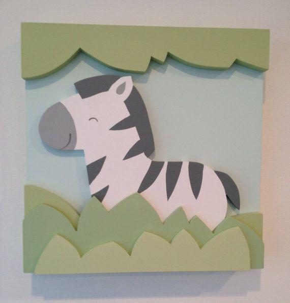 Safari de la cebra 3D niños sala arte, arte de pared de madera de vivero selva…