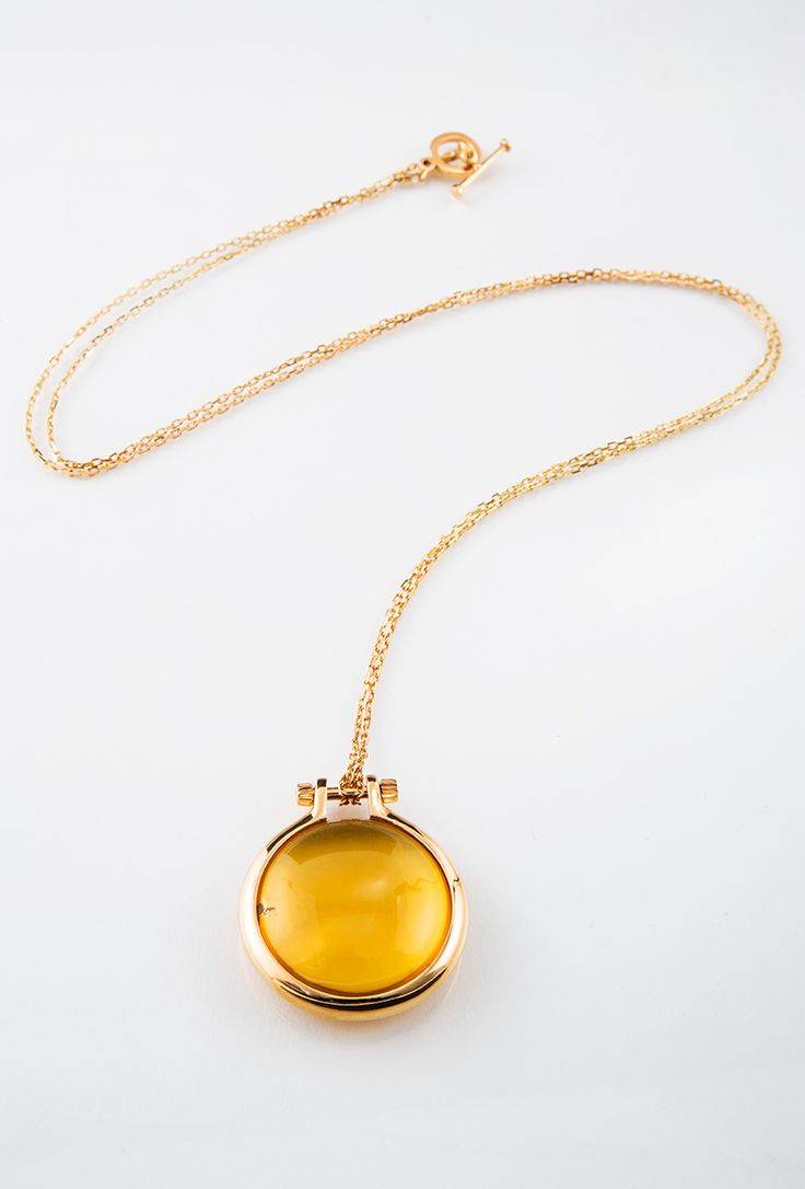 Rings of Saturn Necklace // Silver gold plated, amber