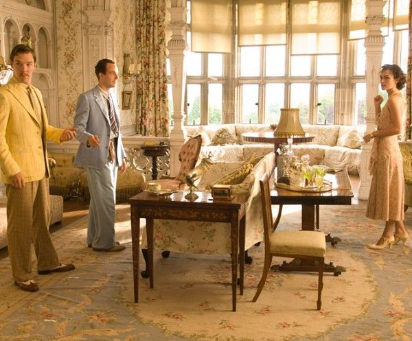 Greenwood and Spencer took inspiration from the design styles of the venerable British firm Colefax and Fowler, spending hours searching through chintz fabrics for the perfect florals to convey the movie's time period—prewar Britain at the peak of summer. The drawing room walls were painted arsenic-green, the kitchen was outfitted in cream tones, and the upstairs rooms were treated with light, flowery motifs.
