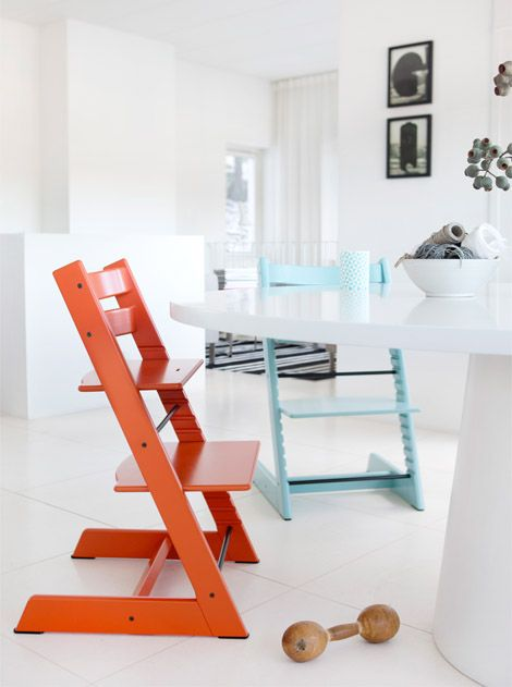We have two Tripp Trapp highchairs, one in aqua and one in red, and we <3 them!
