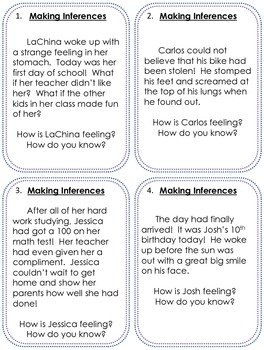 inference Making Inferences Task Cards....and to be used with inferences game!