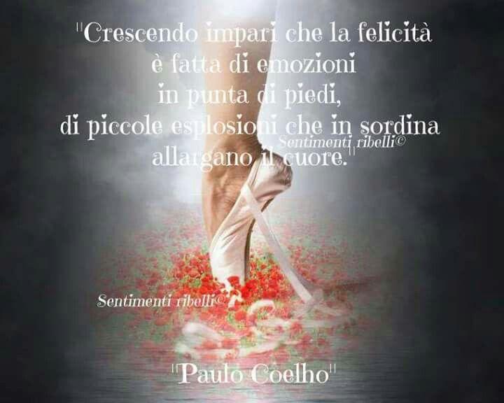 Crescendo impari che la felicità è fatta di emozioni in punta di piedi, di piccole esplosioni che in sordina allargano il cuore - Paulo Coelho ♡♡♡