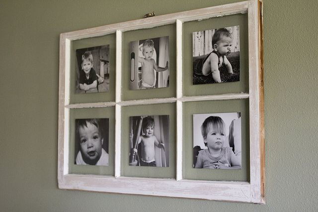 DIY Antique Window Picture Frame.. great use for old windows we have