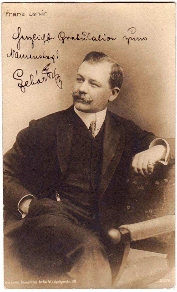 Lehár Franz  Blumenthal Louis   Skladem:1 ks Číslo produktu:12-303 signovaná fotografie Blumenthal Louis, Berlin 1909 : 8000Kč