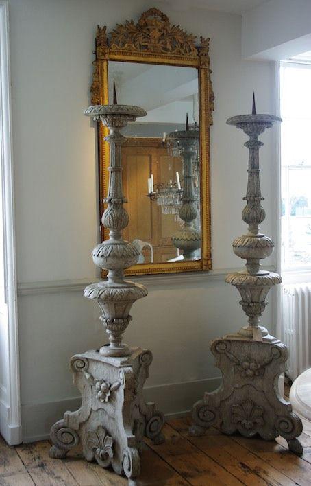 Magnificent Candlesticks and Gilt Mirror