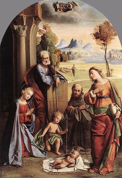 Nativity with Saints. ,1520, Giovanni Battista Ortolano. José Armando Flores Vázquez