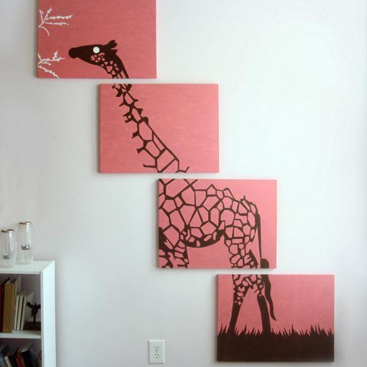 Giraffe Paintings in Pink, Brown,