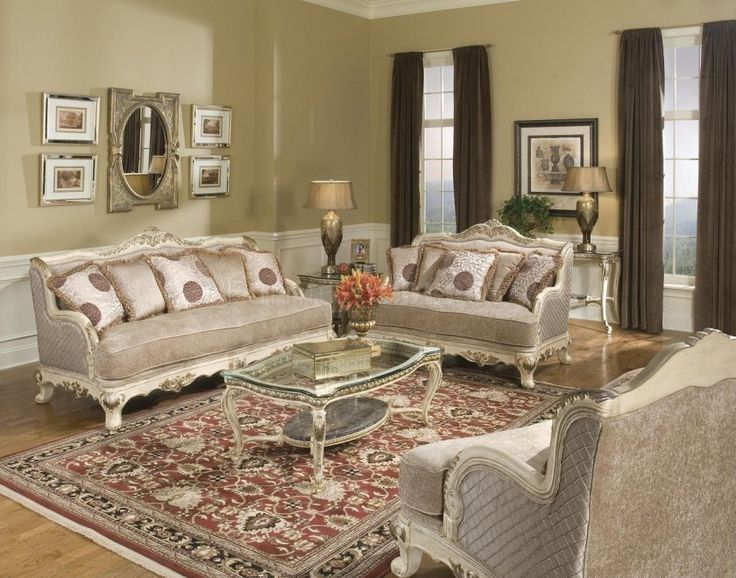 Traditional Living Room Design With Luxury Sofa Sets And Rectangle Glass Coffee  Table Using French Cabriole Part 58
