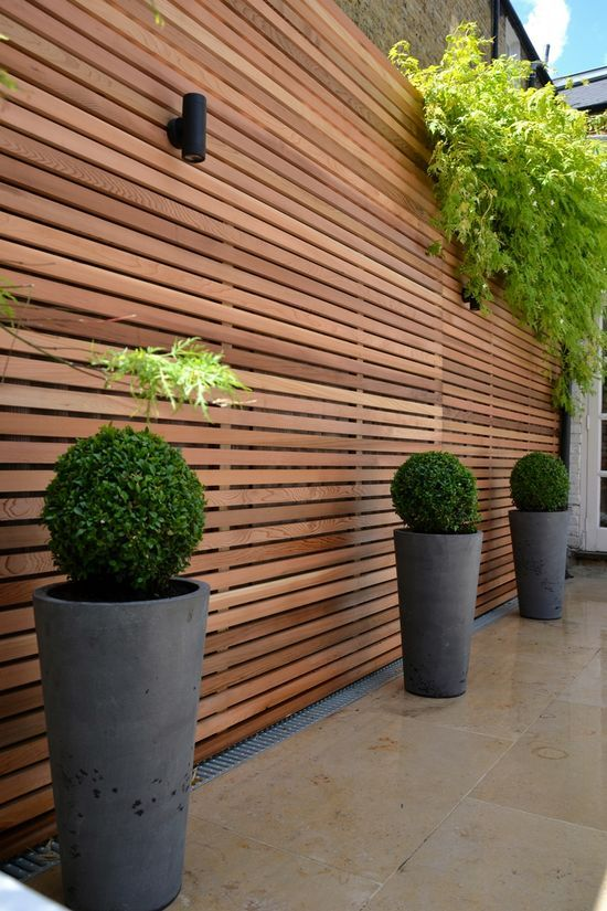High horizontal wood fence, simple planters, lighting