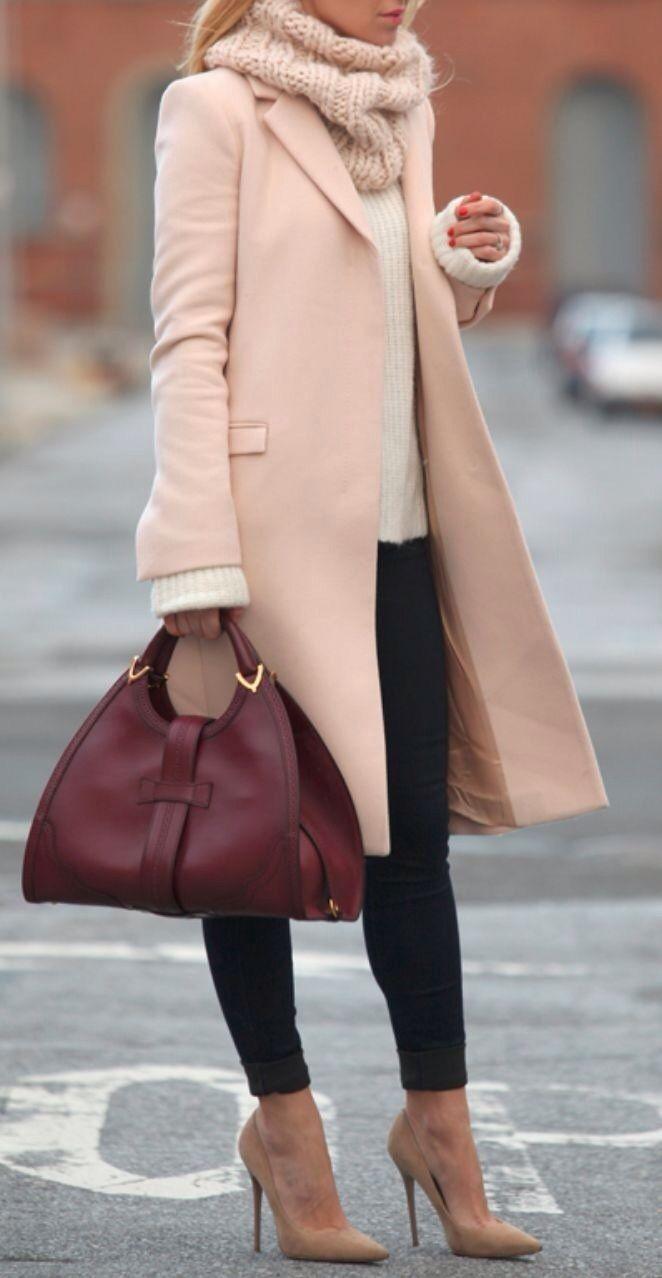 blush coat + oxblood bag