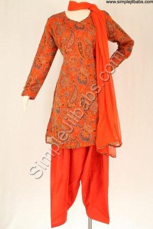 orange print kurta with plain shalwar & dupatta.