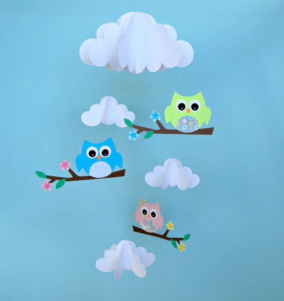 Baby Mobile, Owls and Clouds Hanging Paper Nursery Mobile, Crib Mobile, 3D Mobile