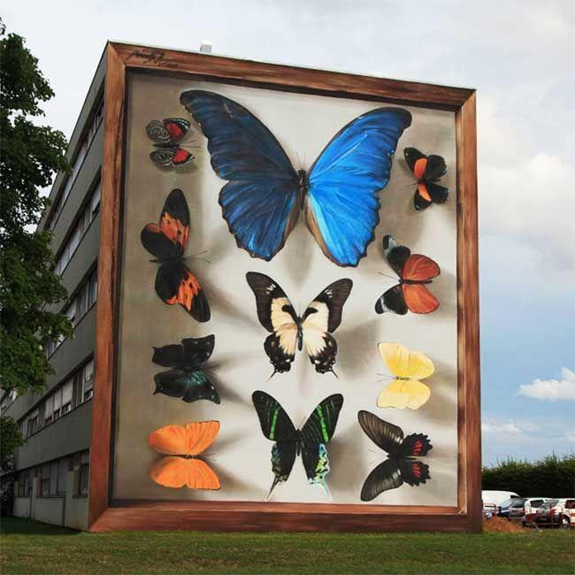 L Artiste Mantra Peint Des Papillons Geants Sur Les Murs Des Villes En 2020 Avec Images Artiste De Rue Les Arts 3d Street Art