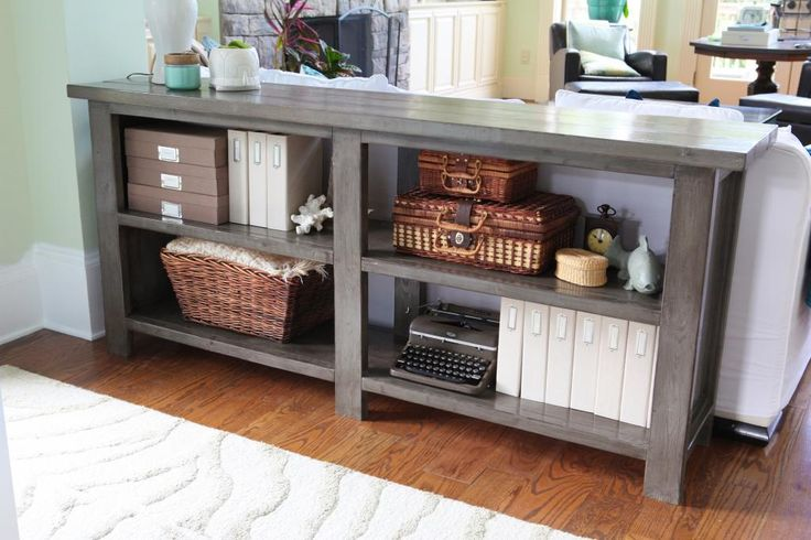 Beautiful DIY Sofa Table/Console - love the color, painted with Sherwin Williams Alkyd Amherst Gray, Rustoleum Kona stain, and Polycrylic