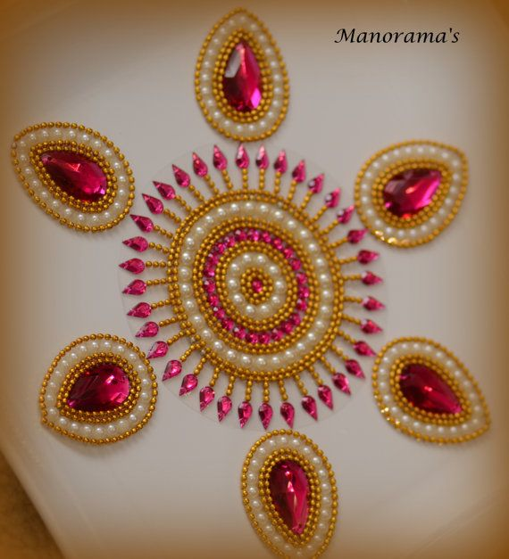 Floor Art  Kundan Rangoli Designs studded by ManoramasJewellery