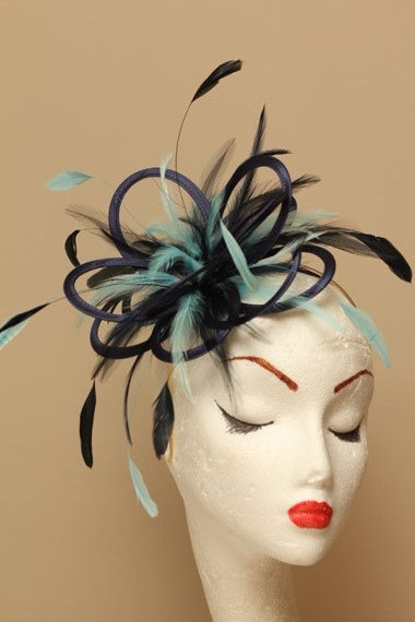 Navy Blue and aqua Satin and Feather Fascinator Hat Approximately  41.89  8ed7b0f4201