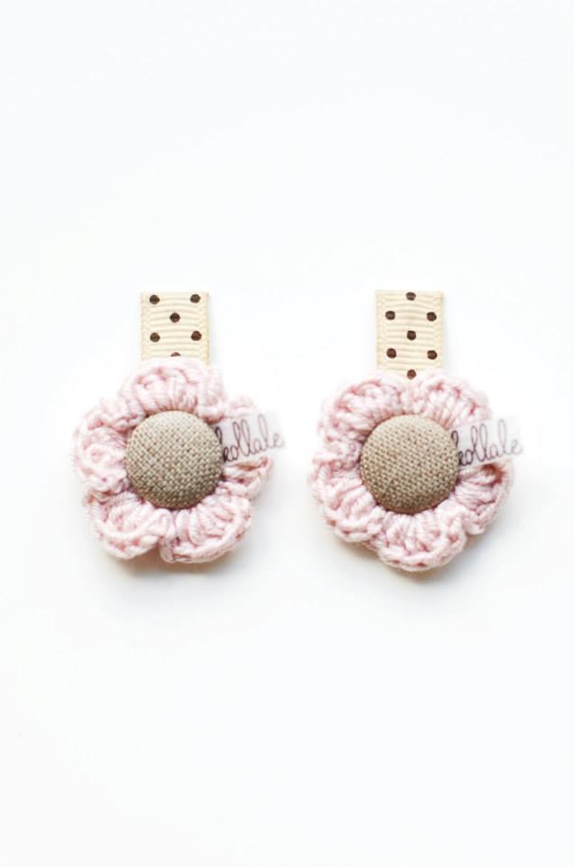 handgemaakte baby haarspeldjes, roze speldjes, kollale www.kidsfinest.nl