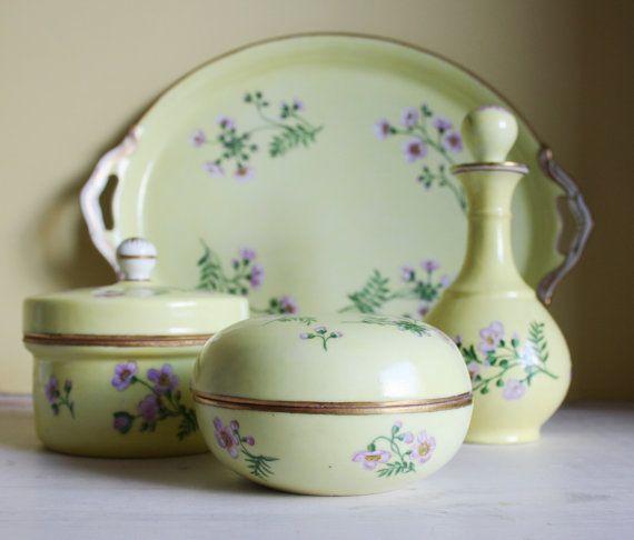 Mimosa yellow antique dressing table set door MyVintagePorcelain