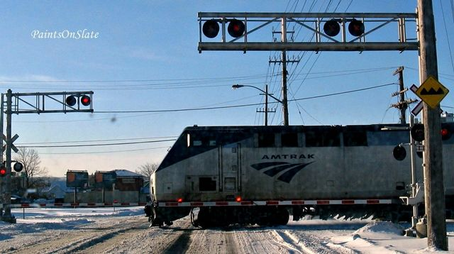 Amtrak crossing the street
