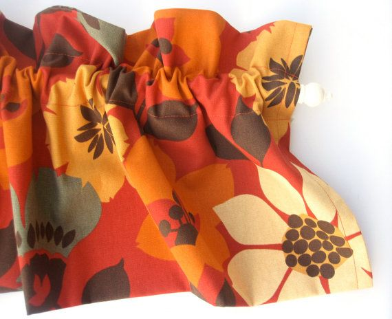 BELOVED Valance Curtains Burnt Orange Yellow by bananabunch, $24.00