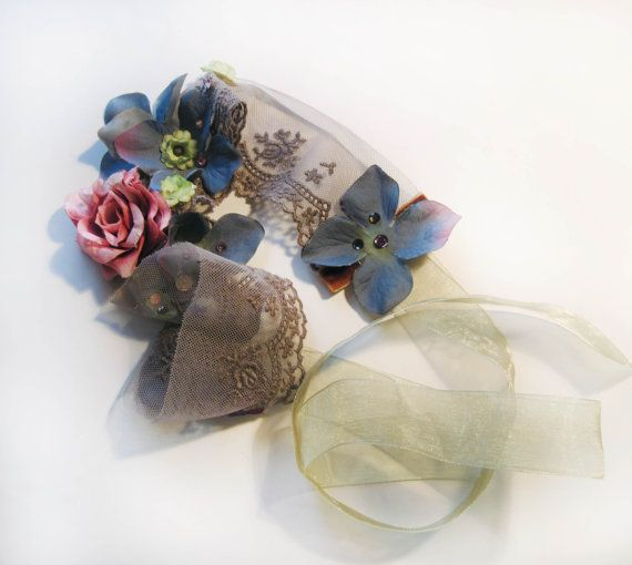 Gatsby bloem hoofdband Bridal zendspoel Pink Rose met